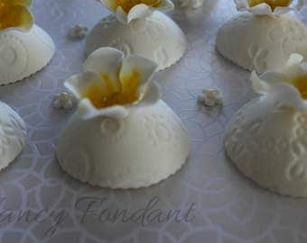12 Domed Edible Fondant Flower Cupcake Toppers