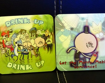 4 Stylized Regular Show Coasters