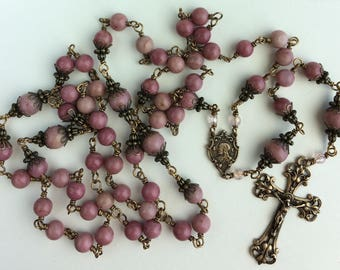 Heirloom, Unbreakable, Wire-wrapped 6mm and 8mm Rhodonite pink Rosary with Bronze Crucifix. Free Shipping!