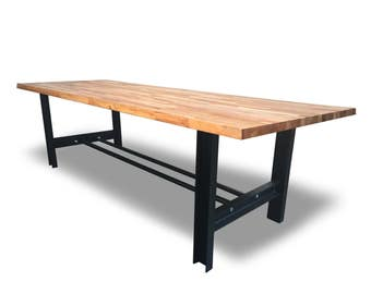 Solid Oak H-Frame Girder Dining/Conference Table - Bespoke Handmade Chic Steel Home Office Meeting