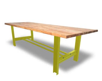 Solid Oak H-Frame Girder Dining/Conference Table - Bespoke Handmade Chic Steel Home Office Meeting ANY COLOUR