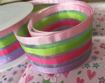 40mm sheer wired ribbon, pink, green, cerise and lilac stripes