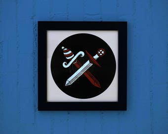 Music Illustration / / vinyl silkscreen daggers