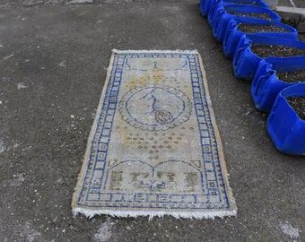 Faded Color Oushak Vintage Rug 2.1 x 4.4 feet Turkish Rug Decorative Rug Wool Rug Boho Rug Area Rug Tribal Rug Aztec Rug Small Floor Rug
