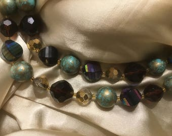 Vintage Necklace Double Strand Costume Jewelry, Jewel Tones
