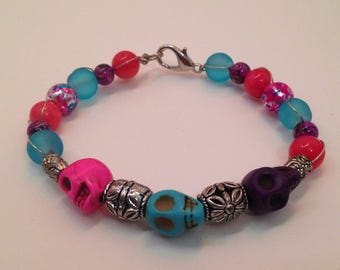 Triple Skull Wire-Wrapped Bracelet