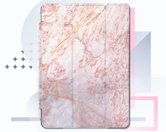 Ipad Smart Cover, ipad pro 12.9 smart cover, ipad air smart cover, ipad pro smart cover, ipad case cover, rose marble case ipad CMsc03