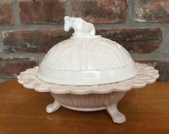 Rare British milk glass covered butter dish,  circa 1880