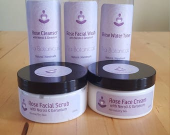 Rose Cleanser, Facial Wash, Facial Scrub, Toner and Face Cream with Neroli & Geranium Set