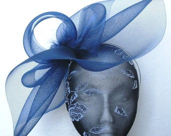 navy blue feather fascinator millinery burlesque headband wedding hat hair piece