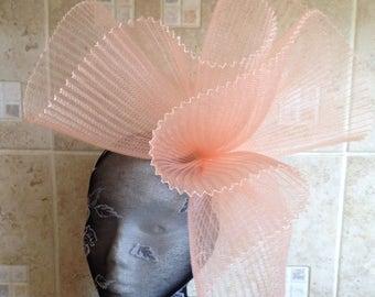 nude peach coral salmon colour headband fascinator millinery hat wedding ascot hair piece race