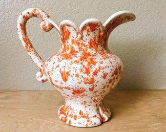 Vintage Orange Splatter Ware Ceramic Stoneware Pitcher, 1974