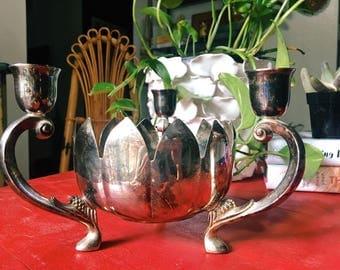 Silver Lotus Candlestick Holder, Triple Candelabra, Boho Decor