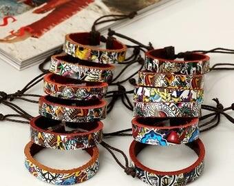 Ed Hardy Inspired Leather Bracelet