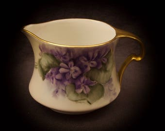 Limoges France Hand Painted Creamer Purple Flowers