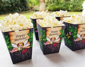 Fairy Popcorn Box, Printable Popcorn Box, Fairy Birthday decoration, instant download, favor box, DIY Party Treat Box, Birthday decoration