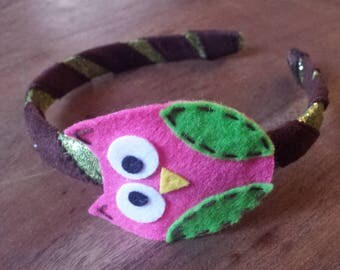 Glitter Green N Brown Headband w/ Owl