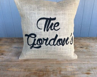 Burlap Pillow, Monogram Pillow, Rustic Pillow, Throw Pillow, Outdoor Pillow, Custom Pillow, Last Name Pillow, Est Pillow, Home Pillow
