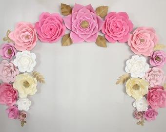 Paper Flowers, Paper Flower Backdrop, Dessert Table Decor, Large Paper Flowers, Nursery Decor, Photography Backdrop, Kardashian baby shower