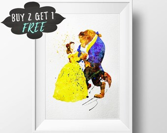 Belle Beauty And The Beast Art Print Poster, Disney Belle Wall Art Nursery Decor Printable Watercolor Instant Download, Baby Gift Girls Room