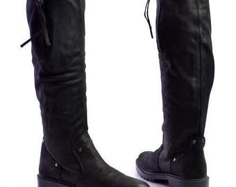 Leather Lug Sole Slouchy Knee High Riding Boots size EUR37 US6.5 UK4