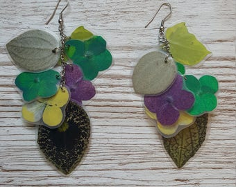 mix of recycled flowers  earrings