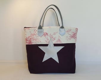 Handbag plum and pink jouy canvas