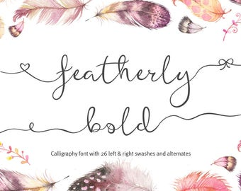 Wedding font Script Font featherly bold font calligraphy font cursive font wedding invitation font Can be used for a logo design font