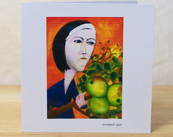 Orchard Girl: Greeting card, quality reproduction of an original painting, (Free Post anywhere in the UK).
