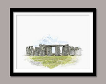 Stonehenge Print, Stonehenge Digital Print, Stonehenge Wall Art, Landmark Printable Art, Stonehenge Digital Download, Watercolor Painting