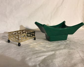Green Miramar 1957 ceramic oriental inspired ashtray