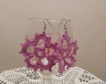 Violet flower earrings,handmade jewelry,handmade earrings