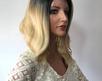 Ombre' Platinum Waves  Human Hair Blend Multi Parting Lace Front Wig - e1049