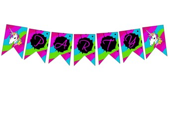 Unicorn banner and cupcake toppers