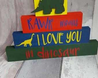 Rawr means I love you stacking dinosaur blocks