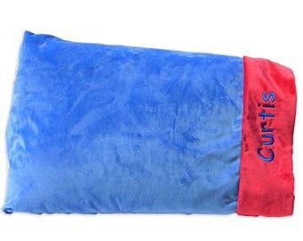 Monogrammed Pillowcase-Standard Pillowcase-Personalized Pillowcase-Minky Pulliwcase-Soft Pillowcase-Quaderfoil Navy and Mint