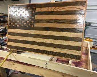 United States Flag made of oak