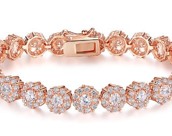 Rose gold crystal bridal bracelet