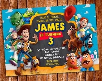 Toy Story Invitation, Toy Story Printable Birthday Invitation, Buzz Lightyear, Woody, Toy Story Party, Toy Story Birthday, Digital File