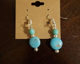 Turquoise Drop Beaded Earrings