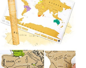World Map Scratch Map Perfect Gift Globe Traveller Gift Scratch Journal High Quality Travel World Map