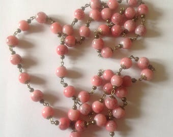 Long pink necklace beaded necklace flapper necklace long necklace handmade necklace