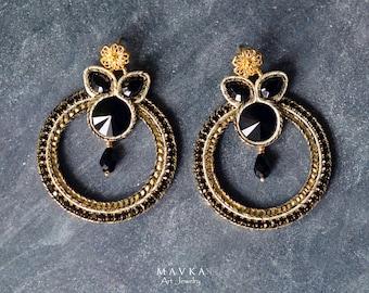 Black & Gold large hoop earrings / Soutache earrings / Fashion earrings /  Statement earrings / Soutache jewelry / art jewelry