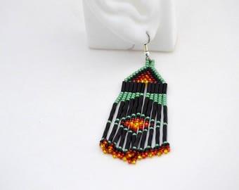 Green Native American Beaded Dangle Earrings
