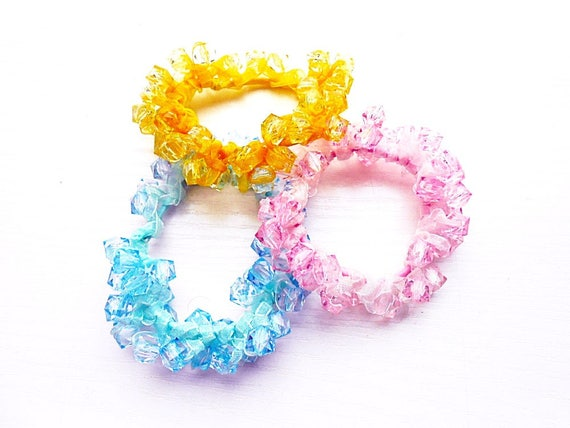 Hair Scrunchies 3 pieces Set Cotton Glass Crystal Beads Pearls Blue Yellow Pink Crochet Embroidery Ponytail Holder Pony Tail Wrap Hair Ties