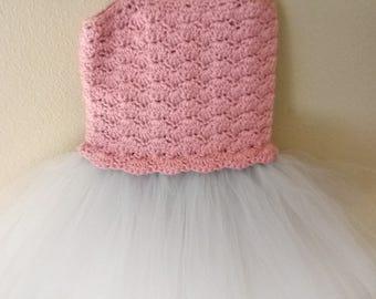 Mauve tutu dress with light gray bottom size 12 months