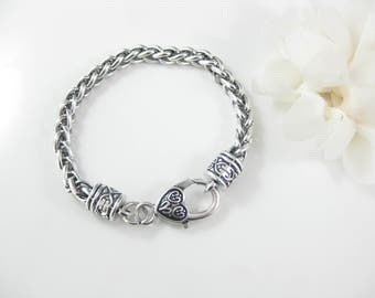 1 PC Silver Heart Clasp Charm Bracelet, Chain Link Bracelet