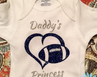 Daddy's Princess Football Heart BodySuit