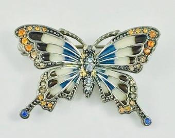 Sweet Monet Butterfly Pin / Brooch - Enamel and Rhinestone
