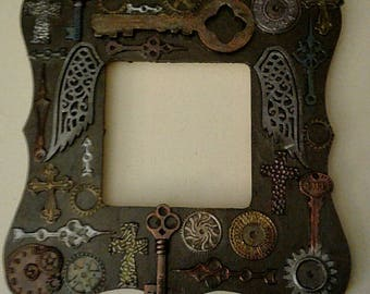 Steampunk Picture Frame, Steampunk Photo Frame, cogs, gears, goth